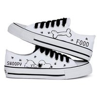 Wholesale hand painted canvas ocean for sale - Group buy 2016 hot sale summer women casual shoe snoopy rascal rabbit hand painted canvas shoes low shallow mouth black lacing canvas shoes female
