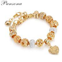 frauen silber armbänder herz großhandel-PD Womens Schmuck s925 Silber Perlen Armband Vergoldet Kristallkugel Armband DIY Herzform AA148