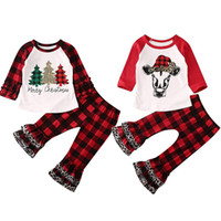 Wholesale tree outfits for sale - Group buy Christmas Baby Clothing Set Ruffle Long Sleeves Plaid Xmas Tree Letter Tops Lattice Leopard Flare Pants set Outfits Kids Clothes M734