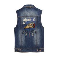 colete indiano venda por atacado-Moda Harajuku Rock Vintage azul denim Colete jaqueta homens punk sudadera buraco streetwear roupas índios Bordados Casuais