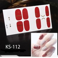 Wholesale sticker lavender resale online - 14tips set Full Cover Nail Stickers Wraps DIY Nail Art Decals Plain Stickers Self Adhesive Sticker Pink White Black Green