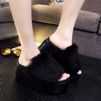 Wholesale sandals flipflops for sale - Group buy Thick bottom fur slippers women colors fluffy fur platform sandals female open toe furry wedges flipflops mujer outing slides