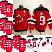 brodeur hokeyi mayo toptan satış-Yeni 2019 Sezonu New Jersey Devils Forması 13 Nico Hischier 9 Taylor Hall 30 Martin Brodeur