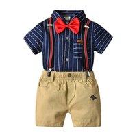 ingrosso giacche per neonati-New Boys T-shirt a righe per bambini di cerimonia nuziale estate formale pantaloni + pantaloncini Abbigliamento Set per neonati, costume per bambini