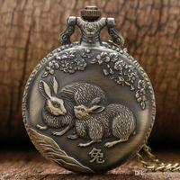 zodyak cep saati toptan satış-Uğurlu Tavşan Kuvars Pocket saat Vintage Casual Çin Zodyak Bunny Hayvan Erik Zarif Kolye Zinciri Ücretsiz Nakliye