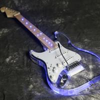Wholesale left handed electric guitar oem resale online - 2019 Purple Lefthand Blue LED Light Electric Guitar Acrylic Body Crystal Electric Guitar We accept do OEM
