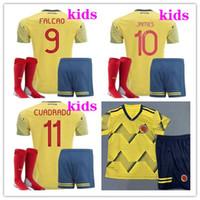 15aabe841 kids kits 2019 copa America Colombia soccer jerseys 19 20 Camiseta de  futbol FALCAO CUADRADO JAMES football shirt Youth jersey