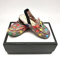 sandales filles achat en gros de-designer bambin garçons filles sandales luxe été enfants sandales haute qualité en cuir véritable vache muscle semelle chaussures coloré logo étoiles chaussures