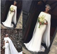 Wholesale cape train wedding dress for sale - Group buy 2020 Elegant Black Girl Mermaid Wedding Dresses Bateau Neck With Cape Satin Court Train Abaric Plus Size Zipper Back Formal Bridal Gowns