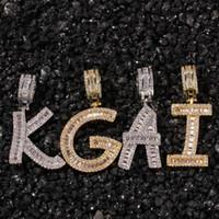 colgante cuadrado de oro para hombre al por mayor-Hip Hop Micro Pavimentado Cuadrado CZ Cubic Zirconia Bling Iced Out Carta Colgantes Collar para Hombres Rapper Jewelry Gold Silver Necklace