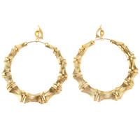 Wholesale big bamboo hoop earrings resale online - 1 Pair Popular Punk Large Bamboo Big Hoop Circle Earring Hiphop Womens Jewellery Accessories