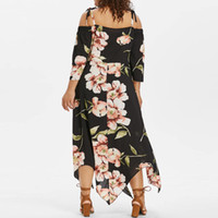 bb4ac5a0414 Feitong Fashion Women Dress Off Shoulder Plus Size Lace Up Female Maxi  Flowing Floral Print Loose Elegant Party Dress Vestidos