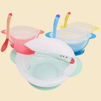 plato de pared al por mayor-4 colores para bebés, antideslizante, succión en la pared, vajilla, para niños, grado alimenticio, PP, lechón, platos, gravedad, tazón + cuchara B