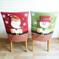 Wholesale tree chair resale online - Christmas Chair Cover Xmas Santa Hat Home Chair Covers Red Hat Back Covers for Christmas Home Decorations