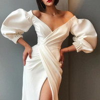 Wholesale puff prom dress resale online - Elegant Solid Evening Prom Gowns Party Dresses for Women Sexy V Neck Puff Sleeve Dresses Black White Off Shoulder High Split Maxi Vestidos