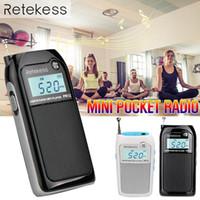 pocket-audio-player großhandel-Tragbares Mini-Taschenradio FM AM Digitaler Tuning-Audioempfänger 9K 10K MP3-Musik-Player Akku-Radio
