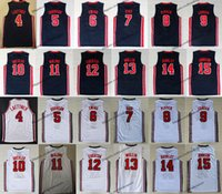 ingrosso 1992 basket usa maglie-1992 Team One USA Dream Larry Bird Michael J Ewing Pippen Mullin Robinson Drexler Laettner Stockton Malton Johnson Barkley Basketball Jersey