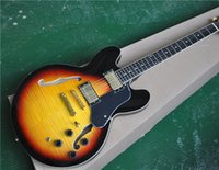 Wholesale guitar tobacco sunburst for sale - Group buy 6 String Semi hollow Electric Guitar Tobacco Sunburst Color Flame Maple Veneer Gold Hardware and can be Customized