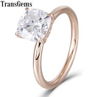 Wholesale cushion cut moissanite for sale - Group buy Transgems k Rose Gold ct Carat7mm F Color Cushion Cut Moissanite Diamond Engagement Rings For Women Wedding With Accents Y19061203