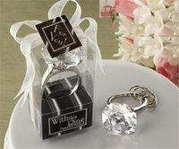 decoração do casamento do anel do diamante venda por atacado-New Diamond Shaped Anel Chave Do Noivado KeyChain Favores Do Casamento Nupcial Do Chuveiro Favor de Hen Noite de Festa de Natal Presente Decoração de Mesa de Banquete