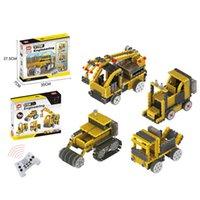 ingrosso rullo remoto-4 in 1 telecomando RC Road Roller / gru / carrello elevatore / camion di sabbia 240 pz blocchi di costruzione giocattolo modello bambini regalo preferito
