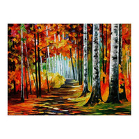 Wholesale oil landscapes painting knives online - 24 quot x20 quot Pallet knife Canvas oil painting hand painted forest path living room sofa background wall decoration painting European painting