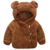 Wholesale cute baby girl winter coats resale online - Baby Child Winter Jacket For Boys Girls Cute Warm Bear Ears Horn Buckle Coat Hooded Outerwear Children Costumes Kid Clothes
