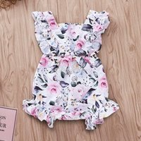 Wholesale clothe girl free shipping for sale - Group buy 0 T Summer Newborn Infant Baby Girls fly sleeved Rose Flower Romper Jumpsuit Outfits Clothes Hot free ship