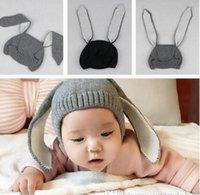ücretsiz bebek başlık tasarımı toptan satış-Bebek Çocuk Kış Şapka 4 renkler tavşan kulak tasarım bebek çocuklar kız erkek kapaklar kış Koruyan Kulak Örme Şapka Ücretsiz Gemi