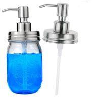 seifenspenderglas großhandel-480 ML Glas Seifenlotion Glasflasche Edelstahl Pumpe DIY Flüssigseifenspender Pumpe Glas Seifenspender Flaschen GGA2111