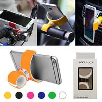 hücre montajı toptan satış-Dönen Hava Firar Dağı Bisiklet Araba Cep Telefonu Tutucu Çift C Tarzı Perakende Kutusu Ile Taşınabilir Evrensel Standı Iphone Samsung Için
