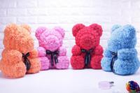 linda muñeca para novia al por mayor-Artificial Rose Flower Bear PE Rose Cute Cartoon Super Girlfriend Kid Gift Love Bear Dolls Presente Fiesta de bodas Decoración Día de San Valentín