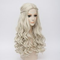 Wholesale long blonde braiding hair resale online - Wonderland White Queen Cosplay Wig Blonde Wavy Long Braid Styled Synthetic Hair Heat Resistance Fiber