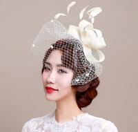 sombrero decoración de cabello al por mayor-Elegante Dama Fiesta Sombrero de la boda de Las Mujeres de Las Señoras Velos Cap Malla Mini Sombrero Ocasión Cabello Tocado Decoración