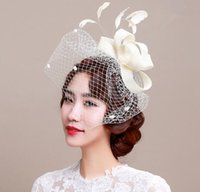 головные уборы для волос оптовых-Элегантный Леди партия Hat свадебные женщины дамы вуали Cap сетки мини-шляпа случаю волос головной убор украшения