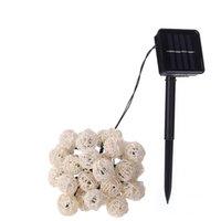 topları çelenk açtı toptan satış-LED Işık Dize LED Garland Güneş Dize Işıkları Rattan Topu Peri Noel Noel Dekorasyon Için Dize Işık Dekorasyon