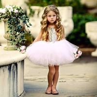 kurzes herz zurück kleid großhandel-Babykleidung Tutu Kleid Pailletten Zurück Herz Hohl Bogen Geburtstag Party Kleid Prinzessin Kurzarm Rosa Rot Schwarz 2019 Sommer