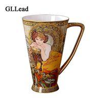 copa real al por mayor-Taza de cerámica GLLead Europea Royal Classic Gold Plateado 450 ML Taza de café de gran capacidad Taza de porcelana china de porcelana de moda Moda