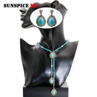 старинная длинная цепь оптовых-SUNSPICE MS Turkish Vintage  Stones Long Necklace Earrings Women Sweater Chain Antique Gold Color Boho Ethnic Jewelry Sets
