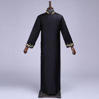 melhores vestidos de noite pretos longos venda por atacado-Preto Melhor Homem Chinês Vestido Longo Casamento Cheongsam Vintage Oriental Noivo Vestidos Longos Vestidos de Noite Homens Tamanho S M L XL XXL