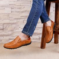 männer lederschuhe loch groihandel-Dropshipping Fashion Echtes Leder Männer Schuhe Casual Big Size Löcher Loafer Design Fahren Männer Flache Schuhe Handgefertigte Schuhe