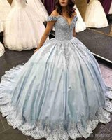 mavi kabarık tatlı 16 elbiseler toptan satış-Lüks Uzun Quinceanera Elbiseler Kabarık Balo Sevgiliye Cap Sleeve Tatlı 16 Boncuklu Açık Mavi 15 Yıl Quinceanera Elbise