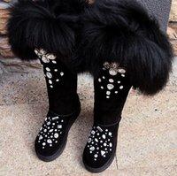 stiefel fell innen großhandel-Mädchen Winter Schwarz Bling Strass Verschönert Big Fox Tail Über Knie Schnee Stiefel Frauen Botas Plüsch Innen Oberschenkel Hohe Stiefel