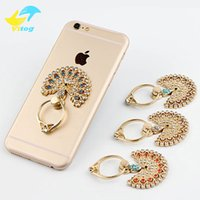 Wholesale beautiful phone holder for sale – best Beautiful Peacock Mobile Phone Stand Holder Metal Diamond Finger Ring Smartphone Holders For iPhone Xiaomi Huawei All Cellphone Stand sticke