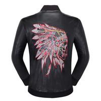 famoso marca mens casaco venda por atacado-2018 famosa marca mens faux casacos de pele roupas moda piloto da motocicleta importado pp crânio jaqueta de couro homens slim fit