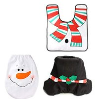 Wholesale rugs sets resale online - 3 Pieces Snowman Santa Toilet Seat Cover And Rug Set Red Christmas Decorations For Bathroom Colorful