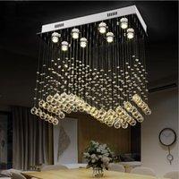 ingrosso design contemporaneo di illuminazione cristallo-Contemporanea rettangolo lampadario di cristallo di goccia della pioggia soffitto di cristallo per le lampade Wave Design incasso lampade per sala da pranzo