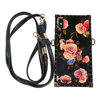 Wholesale branded sling handbags for sale - Group buy Hard Floral Blue Sling Lanyard Phone Cases Iphone pro Max Phone Cases Protective Shell Water Resistant X XS XR XS MAX