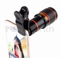 smartphone zoomobjektiv großhandel-12X Optischer Zoom Teleskop Kamera Objektiv Clip Handy Teleskop Für Smartphone im Kleinpaket