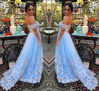 Wholesale short prom dresses for sale - Pretty Handmade Floral Light Sky Blue Prom Dresses A Line Off Shoulder Tulle Sweep Train Formal Evening Gowns